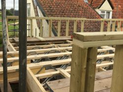 Timber framed extension to listed building in Hawkedon.