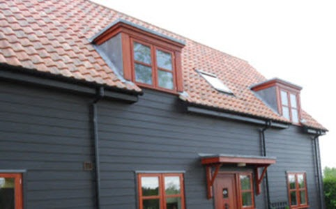 Front elevation of Grand design timber frame new build house in Drinkstone, Suffolk